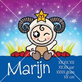 Geboortecanvas sterrenbeeld, Ram jongen: 21 maart - 20 april