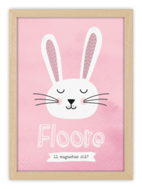 Kinderkamerposter met naam - LOVELY RABBIT