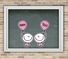 Geboortesticker tweeling meisje/meisje