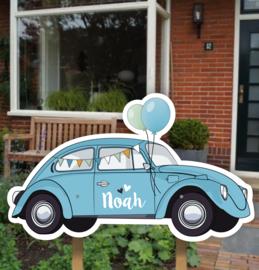Geboortebord tuin | Volkswagen Kever blauw *Kies je kleur!*