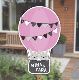Geboortebord   Konijntjes luchtballon tweeling   Meisjes   *Kies je kleur!*