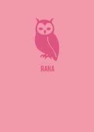 Geboortekaartje uiltje strak design - roze