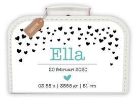 Koffertje met naam en geboortegegevens Hartjes *Koffertje in diverse kleuren verkrijgbaar*