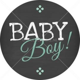 Sluitzegel geboortekaartje krijtbord typografie - jongen