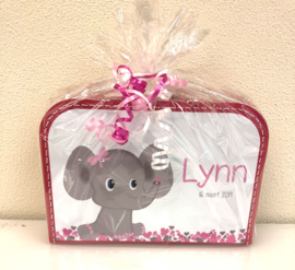 Koffertje met geboortekaartje voor Lynn