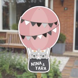 Geboortebord | Konijntjes luchtballon tweeling | Meisjes | *Kies je kleur!*