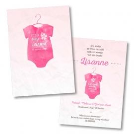 Geboortekaart met roze rompertje