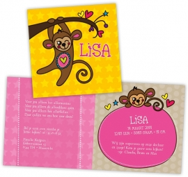 Geboortekaartje met aapje - meisje