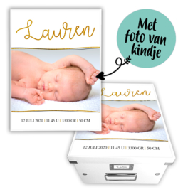 Geboortebox met naam en foto - Goud