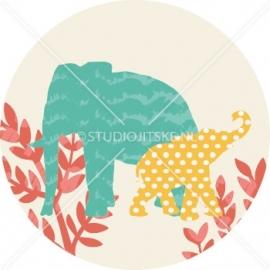 Sluitzegel geboortekaartje olifantjes jungle - jongen