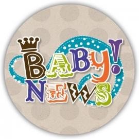 Sluitzegel Vrolijk geboortekaartje letters - Jongen