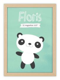 Kinderkamerposter met naam - HAPPY PANDA