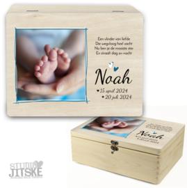 Houten herinneringsbox met foto overleden kindje *Kies je kleur*