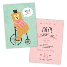 Geboortekaartje met beer op fiets voor een meisje