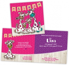 Geboortekaartje met girafjes gezin - meisje