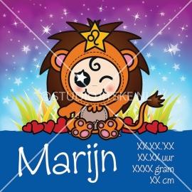 Geboortecanvas sterrenbeeld, Leeuw jongen: 23 juli - 23 aug.
