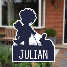 Geboortebord tuin | Silhouette jongen met konijntje *Kies je kleur!*