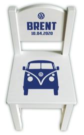 Stoeltje met naam Volkswagen busje met logo **Kies je favoriete kleur!**