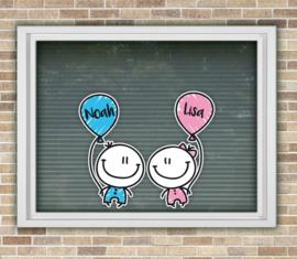Geboortesticker tweeling meisje/jongen