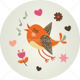 Sluitzegel geboortekaart vogeltje - meisje