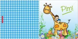 Geboortekaartje giraffe met kindje op rug - jongen