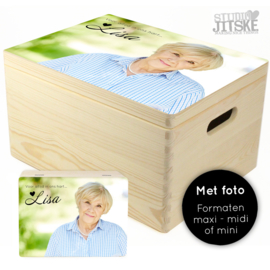 Houten herinneringsbox met foto - div. formaten