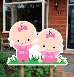 Geboortebord tuin | Tweeling meisjes baby's