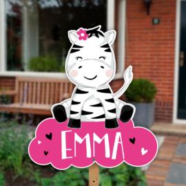 Geboortebord tuin | Zebra