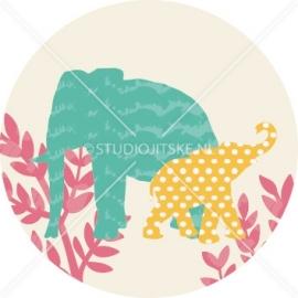 Sluitzegel geboortekaartje olifantjes jungle - meisje