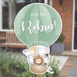 Geboortebord tuin | Luchtballon met dieren | Neutrale kleur