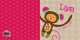 Geboortekaart 'Monchichi' aapje - Meisje