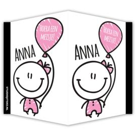 Geboortebord meisje ballon