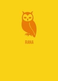 Geboortekaartje uiltje strak design - geel/oranje