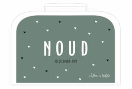 Koffertje met geboortekaartje voor Noud