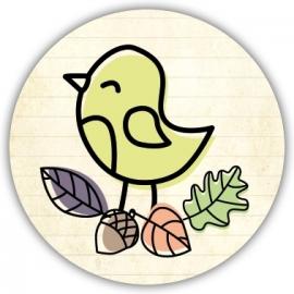 Sluitzegel Geboortekaartje herfst met vogeltje - Jongen