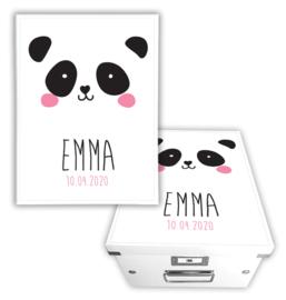 Geboorte bewaardoos met naam - Panda