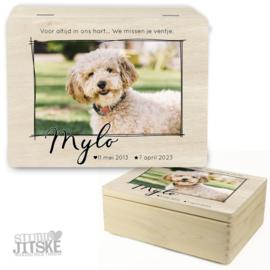 Houten herinneringsbox huisdier met foto