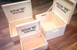 Houten doos met tekst *Kies je kleur*