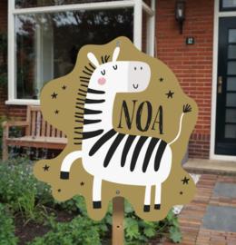 Geboortebord tuin | Zebra *Kies je kleur!*