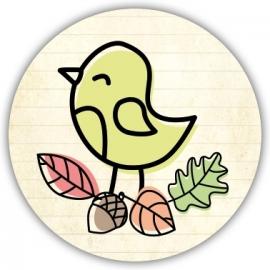Sluitzegel Geboortekaartje herfst met vogeltje - Meisje