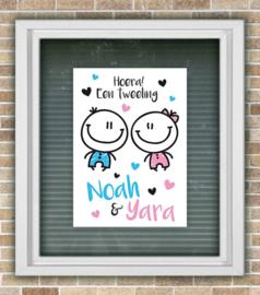 Geboortebord tweeling kindjes meisje/meisje
