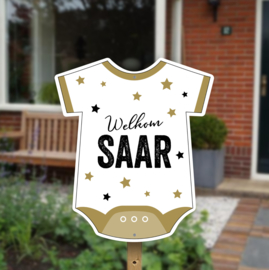 Geboortebord tuin | Rompertje met sterren *Kies je kleur!*