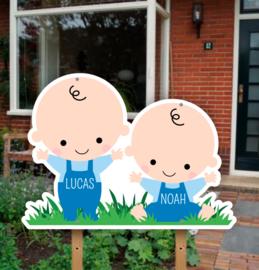 Geboortebord tuin | Tweeling jongens baby's