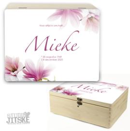 Houten herinneringsdoos Magnolia bloemen *Kies je kleur*