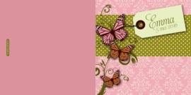 Geboortekaartje vlinders vintage