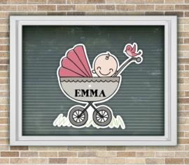 Geboortesticker met naam baby in wandelwagen