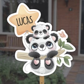 Geboortebord tuin | Panda beertjes