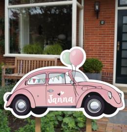 Geboortebord tuin | Volkswagen Kever roze *Kies je kleur!*