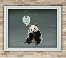 Raamsticker geboorte met naam Panda met ballon