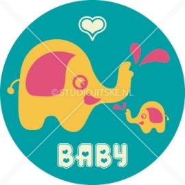 Sluitzegel geboortekaartje olifant retro - meisje